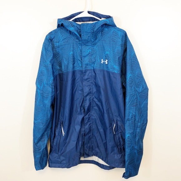 2e1a9494 Under Armour Men's Blue Print Rain Coat Jacket XL